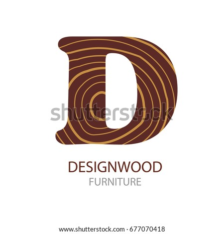 wood furniture design logo. logo letter d, wood furniture. vector illustration, concept of saw cut tree trunk furniture design