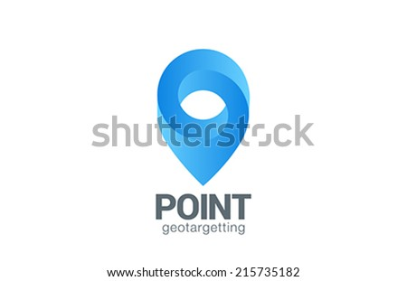 Logo Location Pin map symbol vector design template. Geo point navigation logotype. Looped impossible infinite shape geographic icon. - stock vector