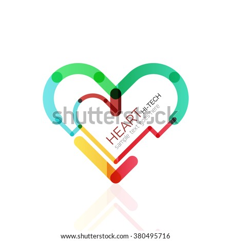 Logo love heart, abstract linear geometric business icon - stock vector