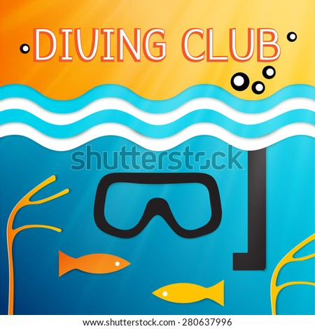 logo marine diving club. Vector illustration of the underwater world with fish in the sea - stock vector