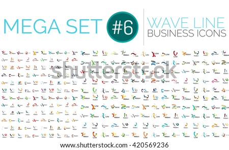 Logo mega collection - wave business logotypes - stock vector