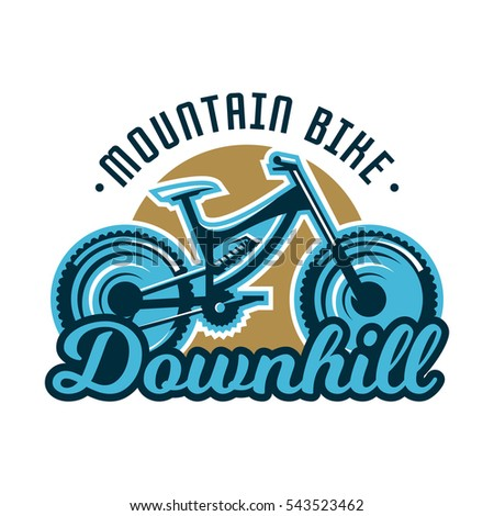 Logo mountain bike. Downhill. Subject extreme sport. Vector illustration. Flat style