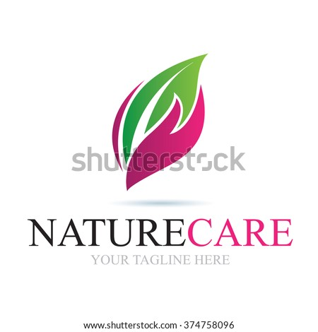 Logo Nature Care Icon Element Template Design Logos - stock vector