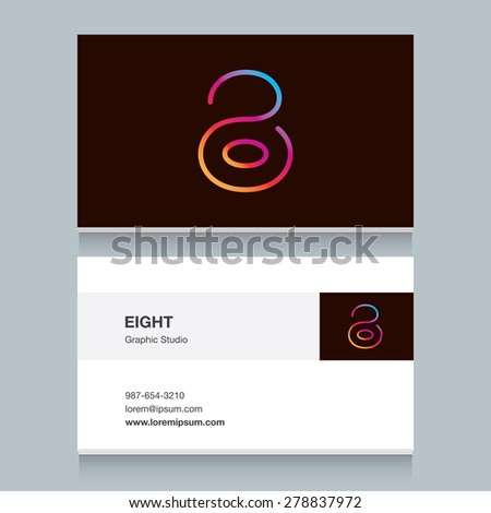 """Logo number eight """"8"""", with business card template. Vector design fully editable.  - stock vector"""