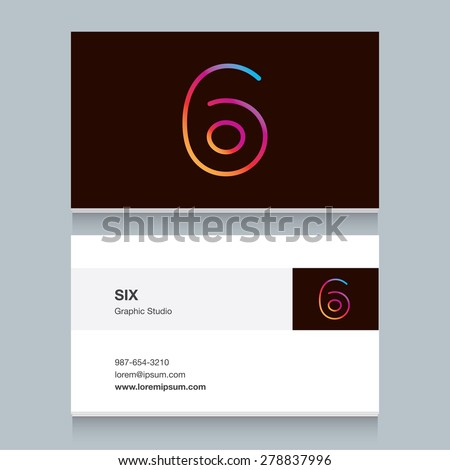 """Logo number six """"6"""", with business card template. Vector design fully editable.  - stock vector"""