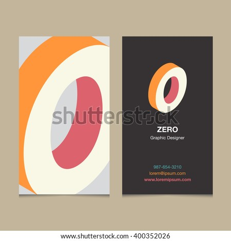 "Logo number ""0"", with business card template. Vector graphic design elements for company logo. - stock vector"