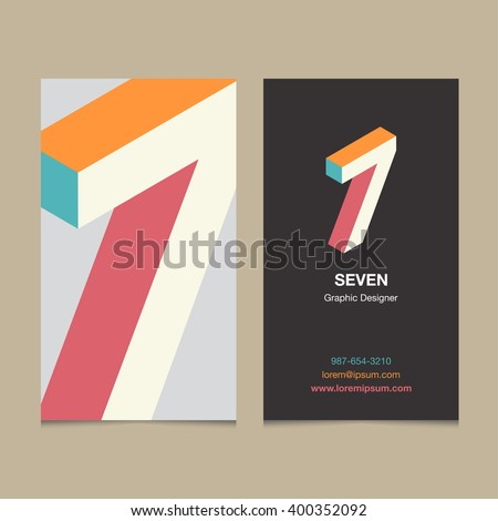 "Logo number ""7"", with business card template. Vector graphic design elements for company logo. - stock vector"