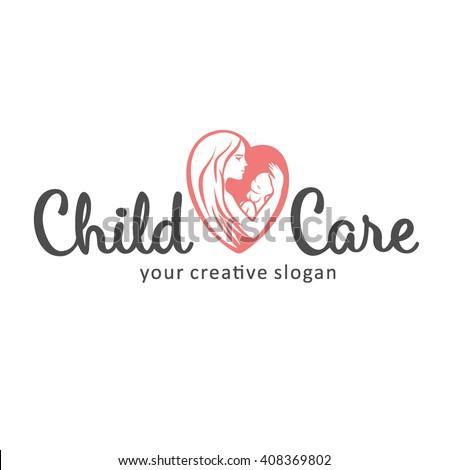 Logo of child care, motherhood and childbearing - stock vector