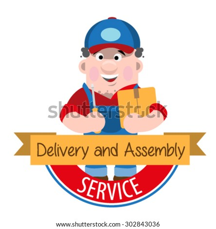 logo of delivery and transportation of goods - stock vector