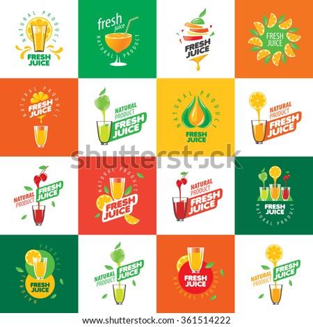 logo of fresh juice - stock vector