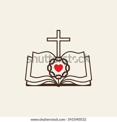 Logo of the church. Cross, an open Bible, the heart and the crown of thorns - stock vector