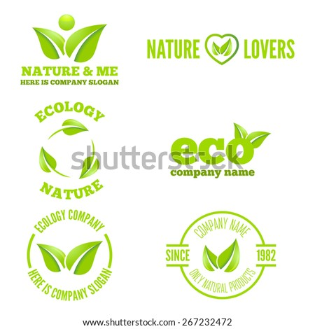 Logo or badge, label, logotype elements with leafs for web, business or nature