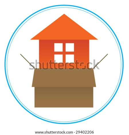 Logo or icon for real estate or home building business 2. Orange house emerging from a cardboard box. Please, see another version. - stock vector
