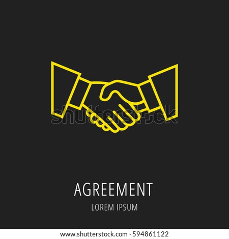 Flat line illustration office business concept stock for Logo use agreement template