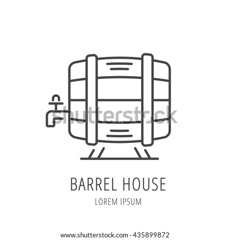 logo or label barrel house. Line style logotype template with barrel. Easy to use business template. Vector abstract logo or emblem. - stock vector
