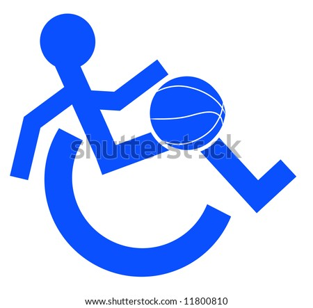 logo or symbol for wheelchair accessible sports or activities - vector - stock vector