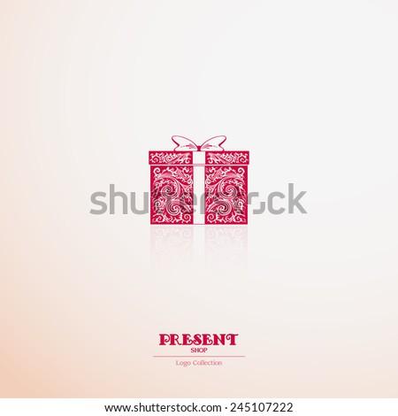 Logo present shop, souvenir shop. Ornate gift box icon - stock vector