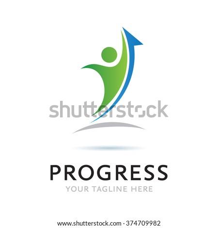 Logo Progress Man Icon Element Template Design Logos - stock vector