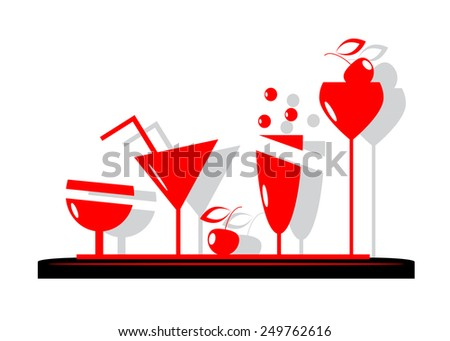 logo. Red glasses with ice cream, cherry and drinks - stock vector