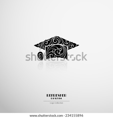 Logo Refresher course, institution label. Ornate beanie graduate icon - stock vector