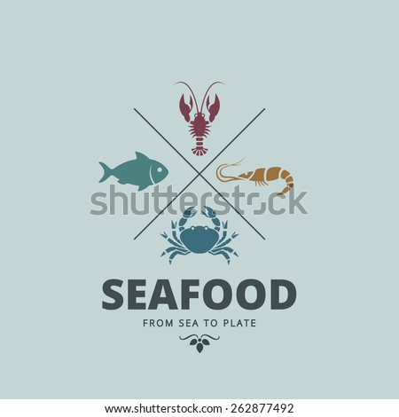 Logo Seafood Retro Vintage Label design vector template. Crab, Lobster, Shrimp, Fish icons for Restaurant Logotype. - stock vector