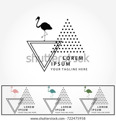 Logo Set Abstract Geometric Minimalist Halftone LogosTriangle And FlamingoModern Trendy