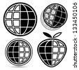 Logo set of four black globes on white background - stock vector