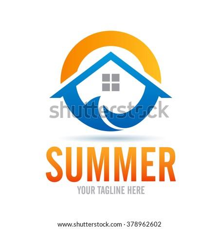Logo Summer Icon Element Template Design Logos - stock vector