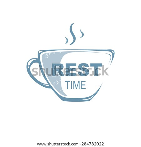 Logo template. Cup with hot drink. From a cup there is steam - stock vector