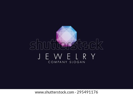 Logo template jewelry, jewellery fashion, luxury, stylish, crystal, brand, branding, company, corporate, identity, logotype. Clean, modern and elegant style design - stock vector