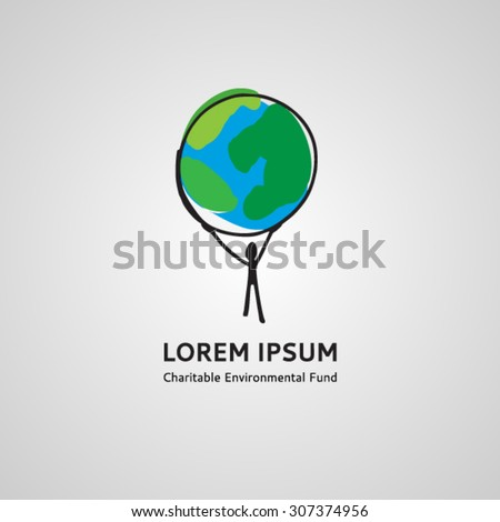 Logo template man holding the planet hands - stock vector