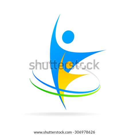 Logo template - successful team. The sign for the company's successful leaders. - stock vector
