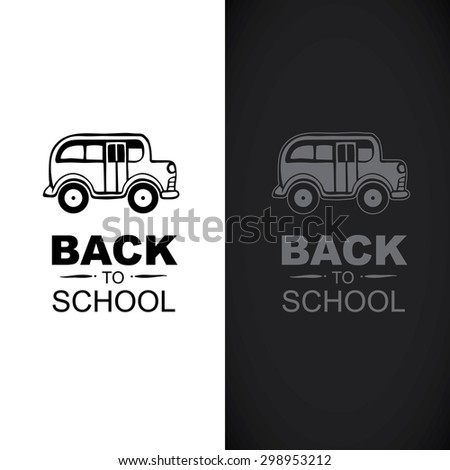 """Logo template with school bus and words """"back to school"""" - stock vector"""