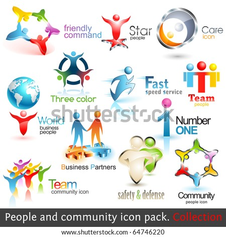 Logo Templates. Business People Community 3d Icons. Vector Design elements. Set of Business Teamwork Symbols. Round Shape. Global Brand. Care, Guard, Running, Fast, Puzzle Symbol. People Silhouette. - stock vector