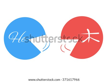 Logo translation. Two people speaking different languages. The wall between people. The conversation in English and Chinese. Failure to understand the other person - stock vector