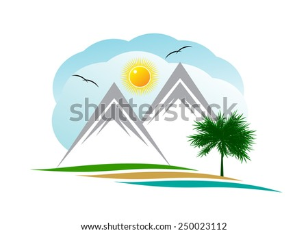 logo. Two mountains against clouds and the sun with birds