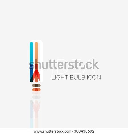 Logo, vector light bulb abstract linear geometric business icon. Idea concept