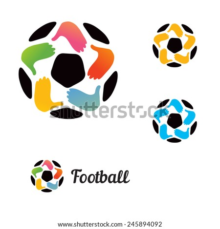 Logo with a soccer ball with his hands and a star - stock vector