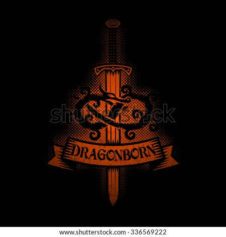 Logo with dragon and sword. Medieval coat of arms. - stock vector