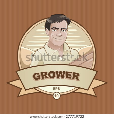 logo with farmer worker. Retro - stock vector