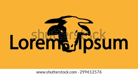 Logo with head of a bull  - stock vector