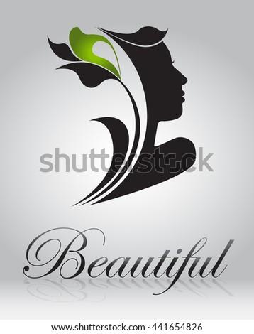 Logo woman silhouette, head, face logo isolated. Use for beauty salon, spa, cosmetics design - stock vector