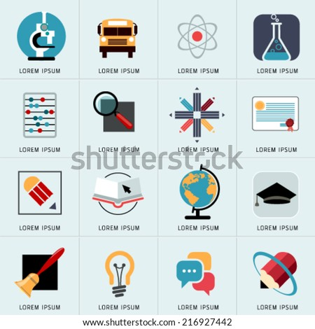 Logos and Abstract web Icons and globe vector identity symbol. Set of icons and stickers for art and education. Graphic design easy editable for Your design. - stock vector