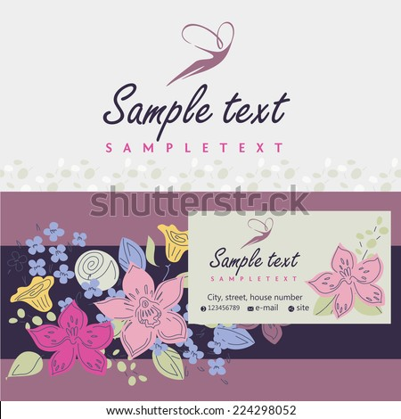 Logos and identification. Business card, banner. Aesthetics, relaxation, spa. Flight of a woman in the sky. Flowers - stock vector