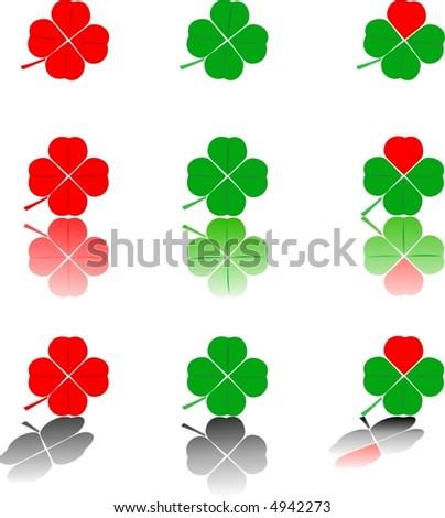 logos - nine four-leaf clovers (shamrock) on the white background - stock vector