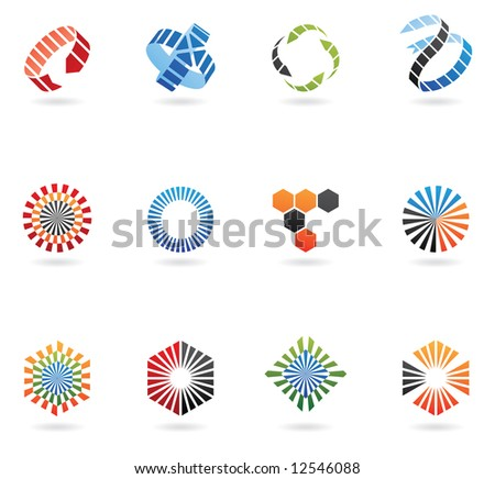 Logos to go with your company name (set of 12) - stock vector
