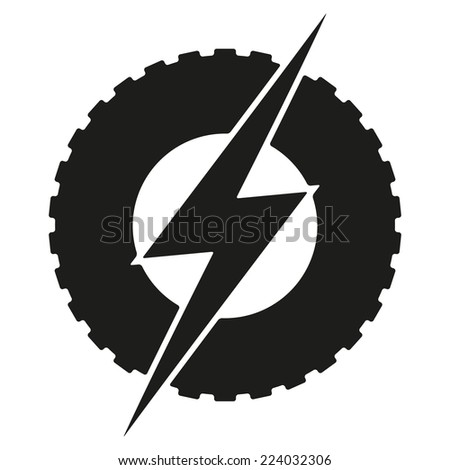 Logotype round wheel with lightning. Eco electric transport theme. Car and automobile industry. Vector Illustration isolated on white background. - stock vector