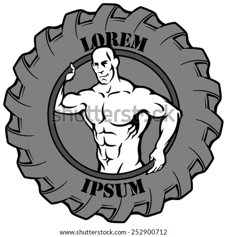 Logotype template. Muscular man's silhouette reaching out from a tire which is used for exercises in some fitness styles. EPS8 vector illustration isolated on white background. - stock vector