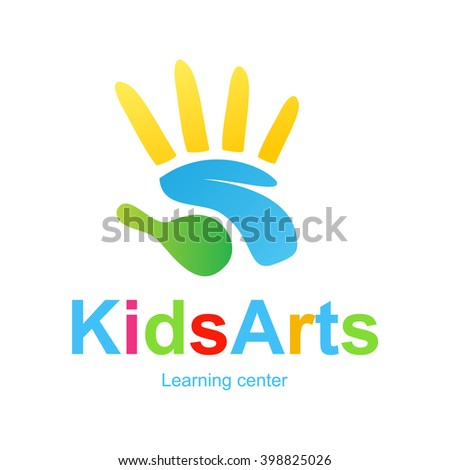Logotype template with kids arts and beautiful typography. Isolated on background and easy to use. Perfect logo for your business and kids concept. Vector graphic symbol or sign - stock vector