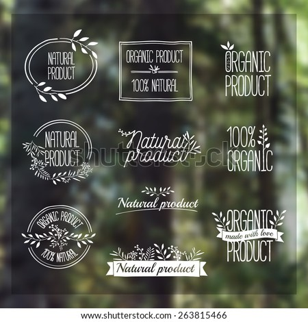 Logotypes set. Badges, labels, ribbons, plants elements, wreaths and laurels, branches. Organic, bio, ecology, eco natural design template. Hand drawing. Vintage vector on blurred background forest - stock vector